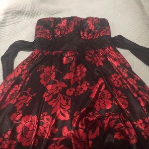 Black and red strapless dress